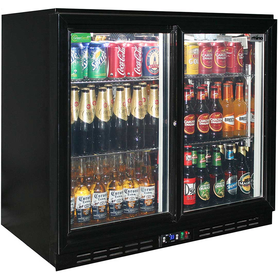 Glass 2 Door Sliding Commercial Back Bar Bar Fridge Energy