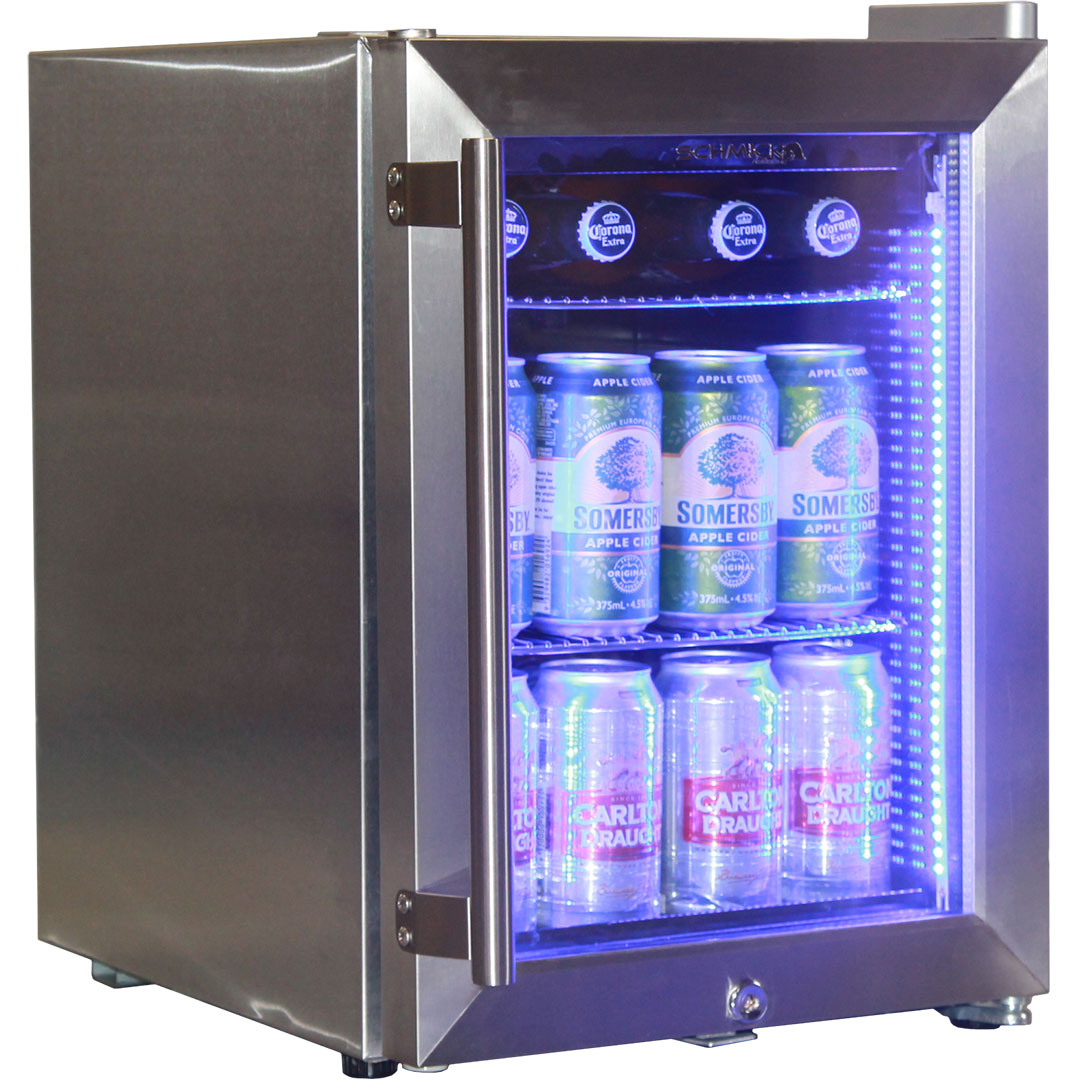 Stainless Steel Mini Bar Fridge With Led Strip Light And