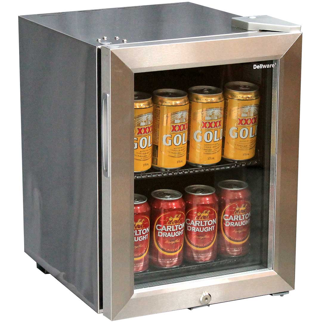 Mini Glass Door Bar Fridge All Stainless Steel With Lock