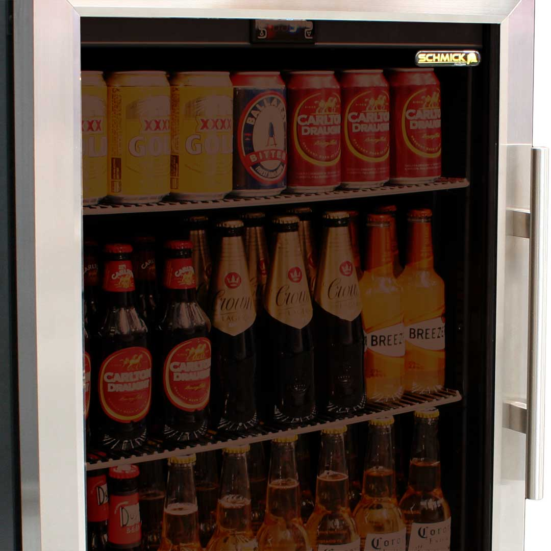 Underbench Glass Door Beer Bar Fridge Integrated With