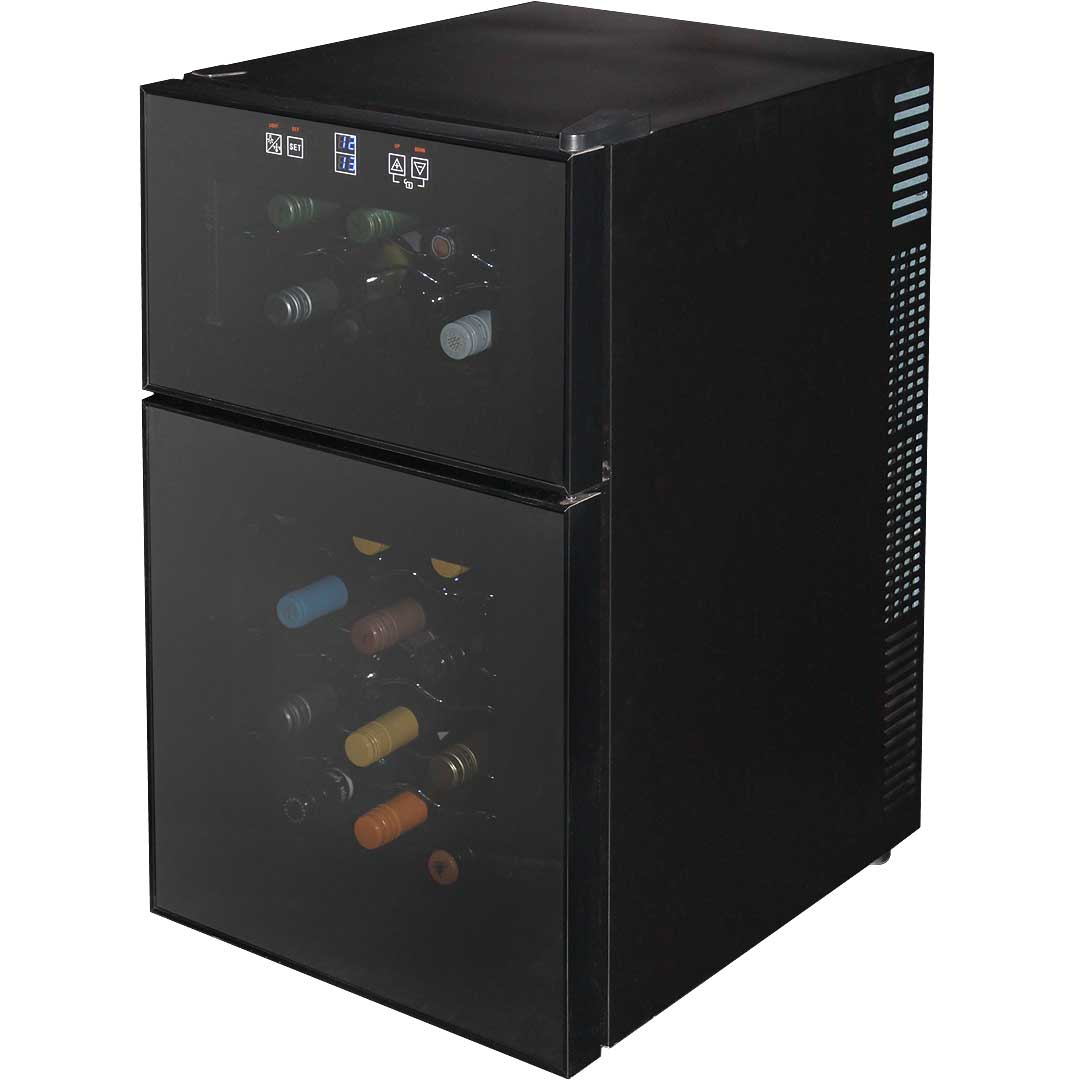 Mini Dual Zone Wine Refrigerator 24 Bottle Model BCW69 Angle