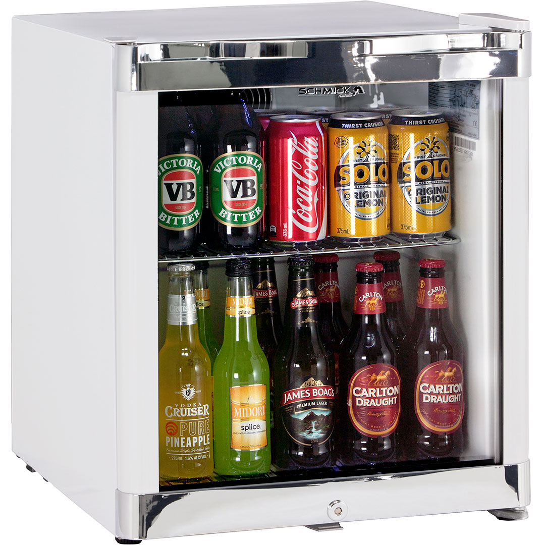 Schmick Glass Door Bar Fridge Tropical Mini 50litre Strong Shelving Hold Plenty Of Weight