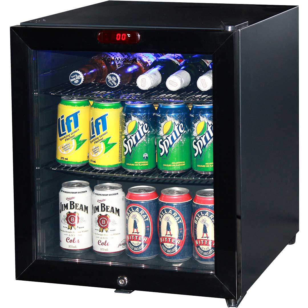 glass door mini bar fridge led display model ctb52 angle - Glass Front Mini Fridge