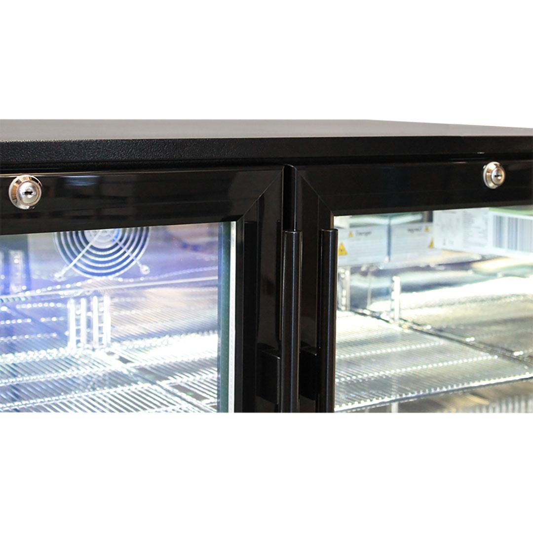 Rhino Double Door Commercial Black Under Bench Glass Door Bar Fridge Model SG2H-B Locable