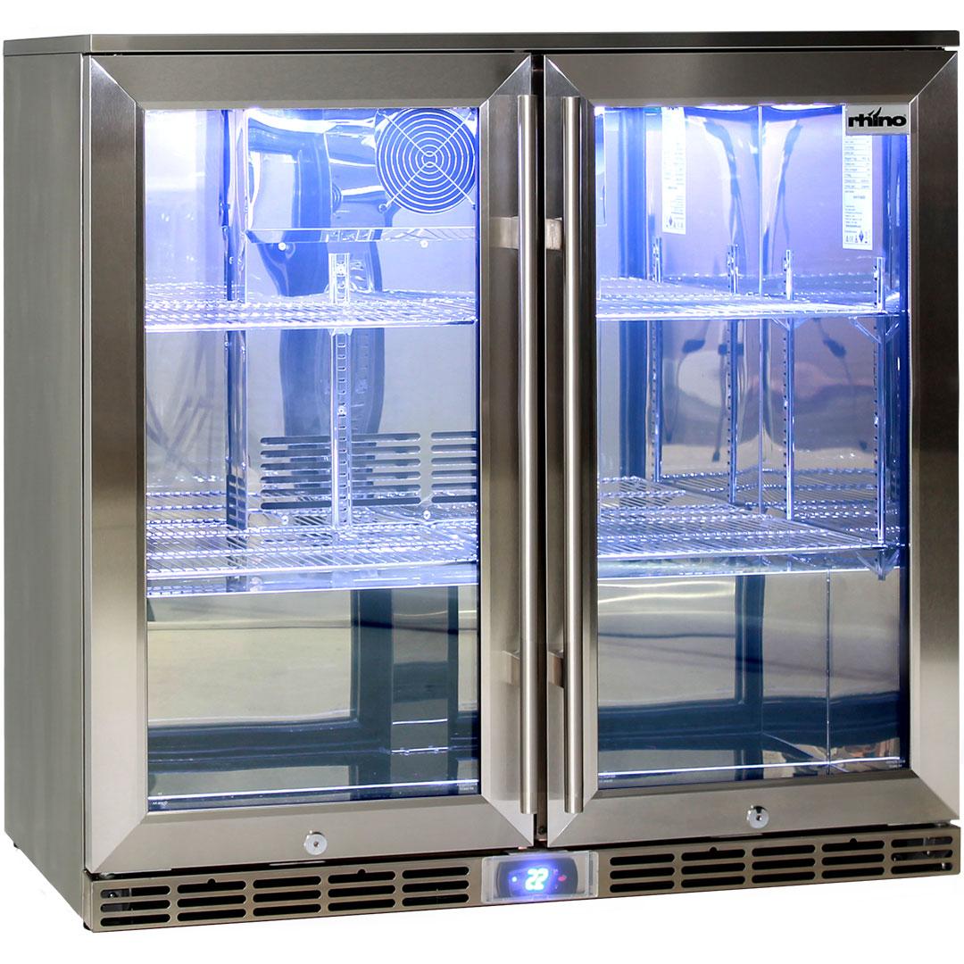 Rhino 2 Door Alfresco Outdoor Glass Door Bar Fridge  Model GSP2H-SS angle