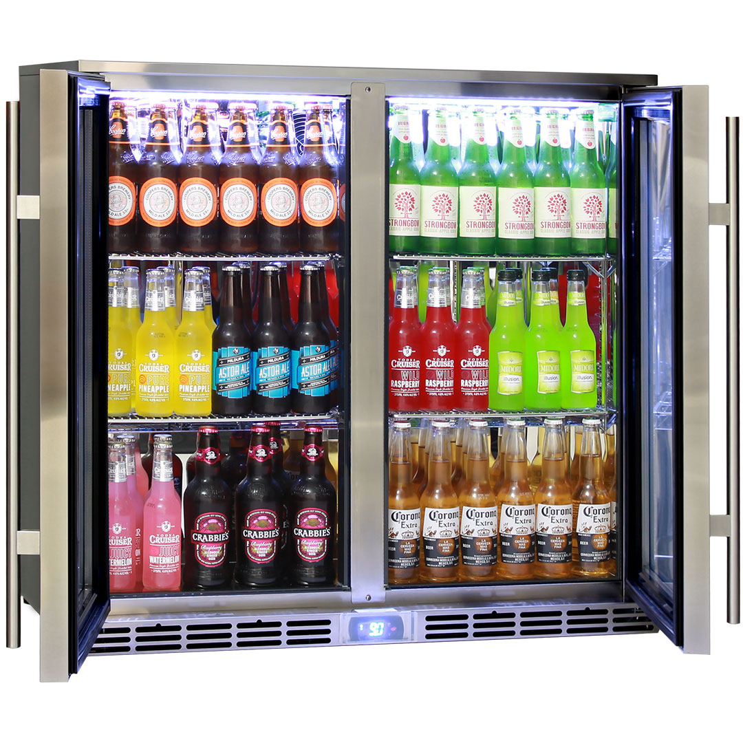 Rhino 2 Door Alfresco Outdoor Glass Door Bar Fridge  Model GSP2H-SS rev angle