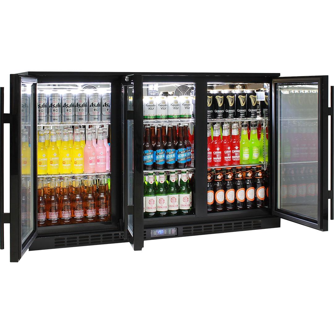 Commercial Glass 3 Door Under Bench Bar Fridge Energy Efficient With LG  Compressor