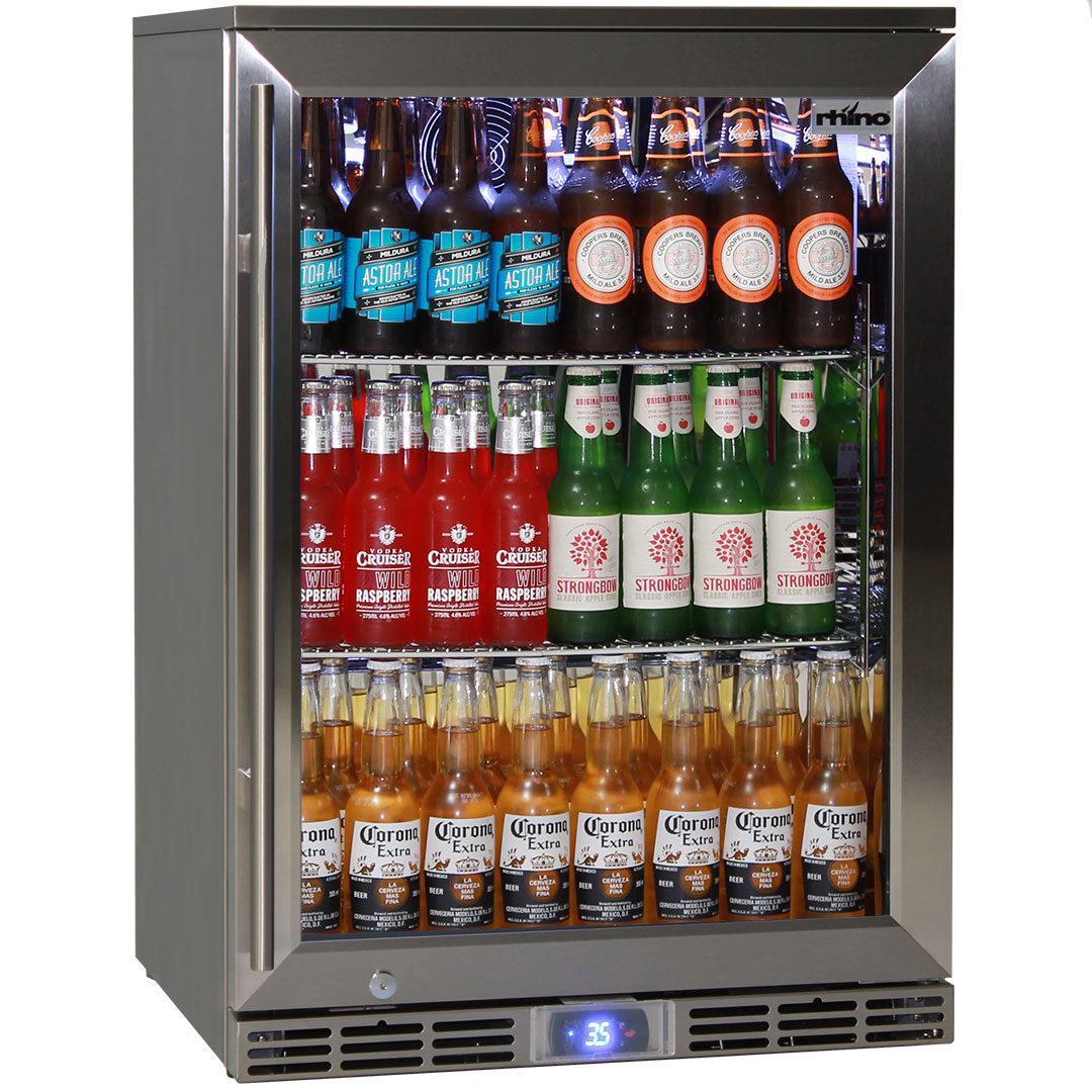 Outdoor Bar Fridge Glass Door All Stainless Steel Rhino Alfresco