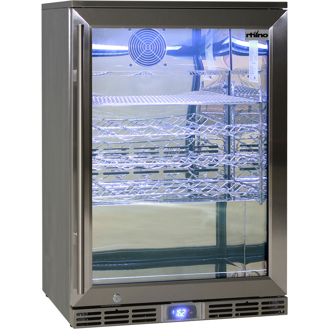 Rhino 1 Door Alfresco Outdoor Glass Door Bar Fridge Model GSP1H-840-SS