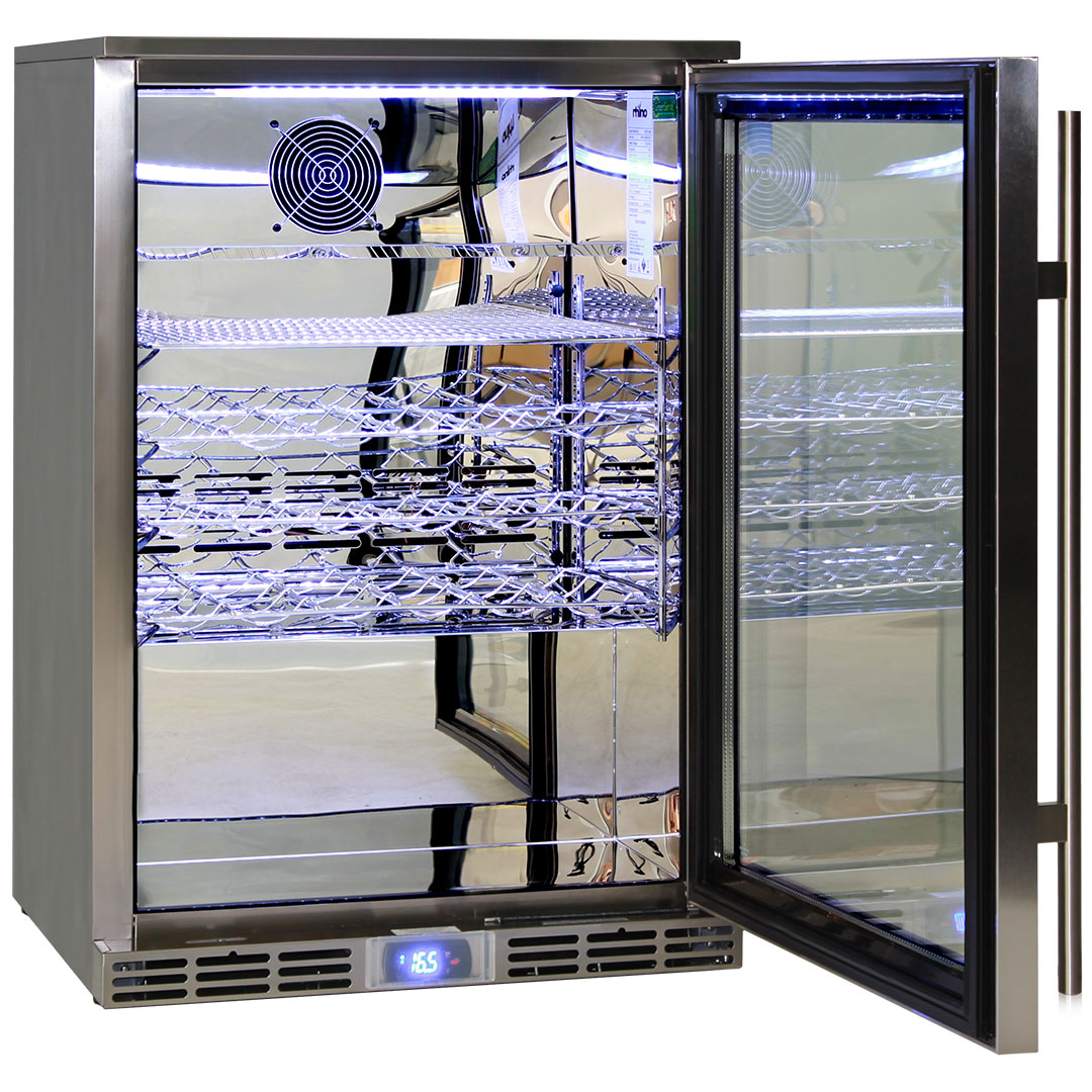 Rhino Bar Fridges - Polished Stainless 304 Steel Inner, Exterior All 304 Stainless Steel Including Grill, Handle, Screws, Hinges, Return Door Spring. Wine Shelves Shown Are Available In Options To Right Of Pics.
