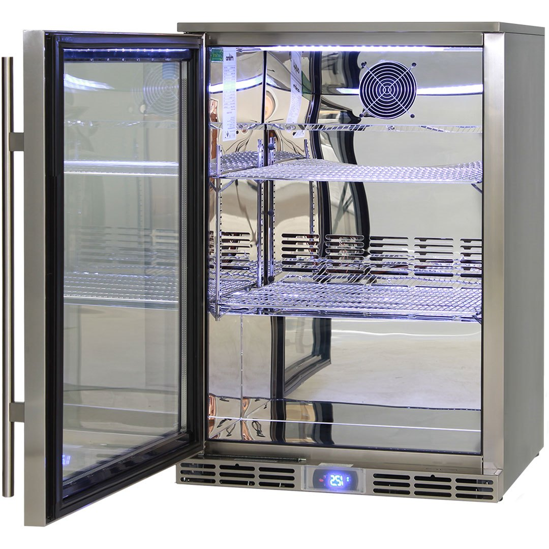 Glass door fridge kitchen - Rhino Alfresco Fridges Have Polished 304 S S Interior Giving A Mirror Finish