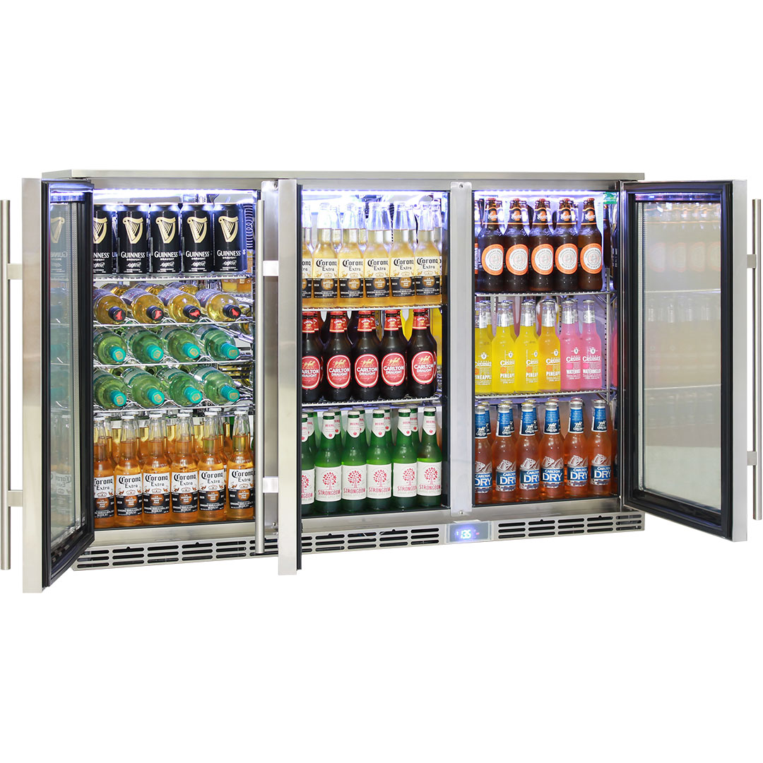 Rhino 3 Door Alfresco Outdoor Glass Bar Fridge Model Gsp3h Ss Angle