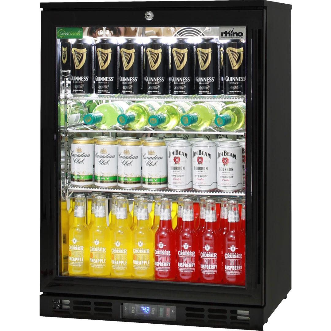 Black Commercial Glass 1 Door Bar Fridge Energy Efficient LG Compressor