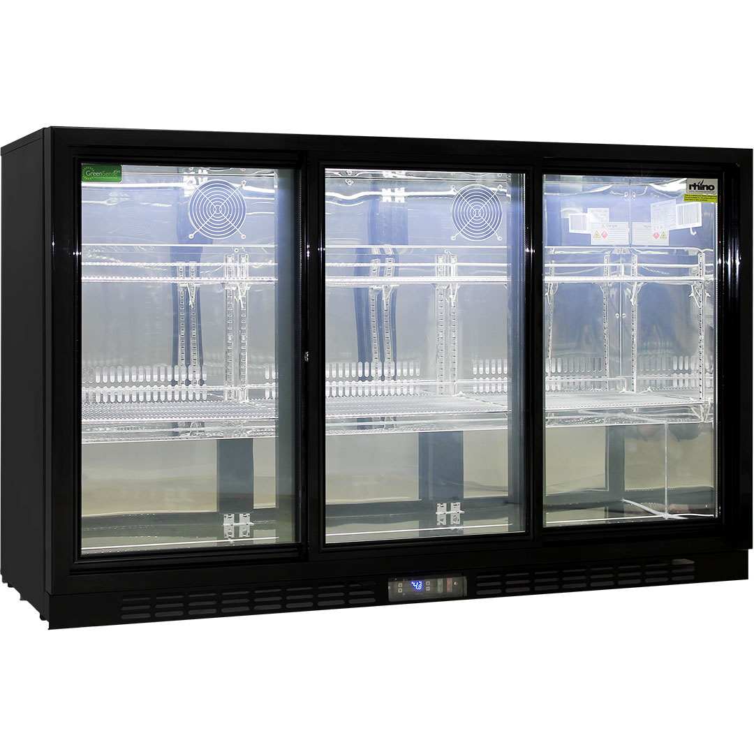 Energy saving sliding 3 glass door commercial bar fridge for Black sliding glass doors