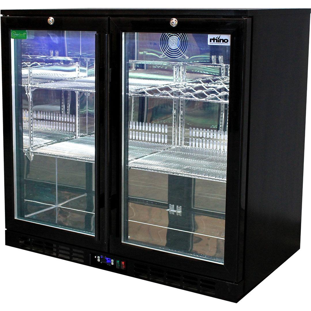 Rhino Double Door Commercial Black Under Bench Glass Door Bar Fridge Model SG2H-B shelving