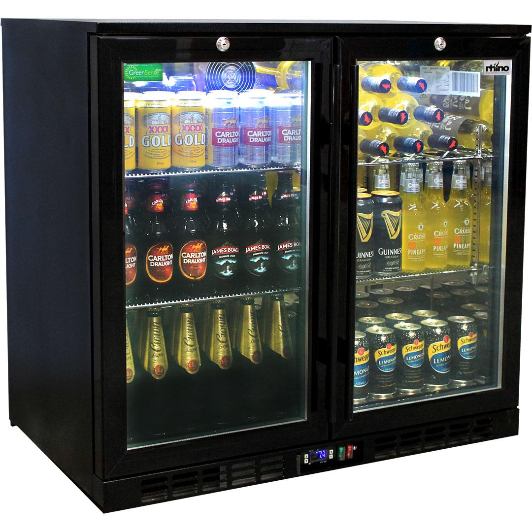 Rhino Double Door Commercial Black Under Bench Glass Door Bar Fridge Model SG2H-B