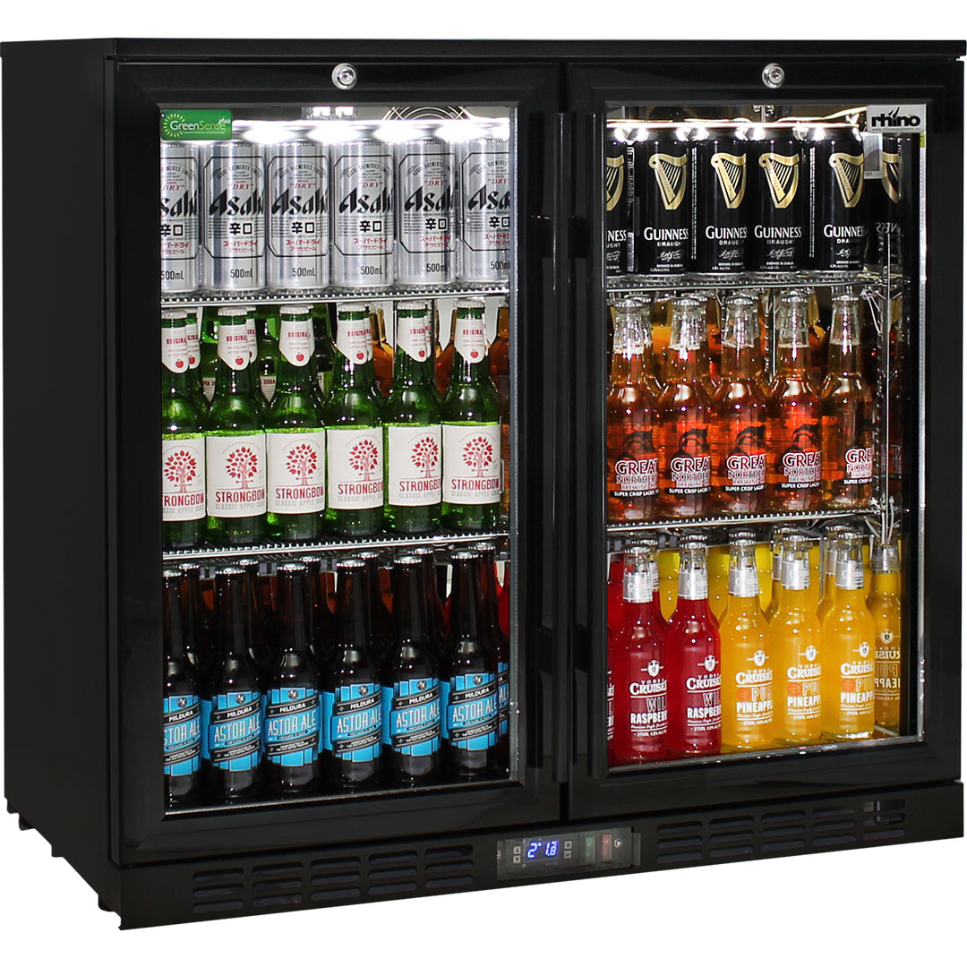 Rhino Double Door Commercial Black Under Bench Glass Door Bar Fridge Model SG2H-B