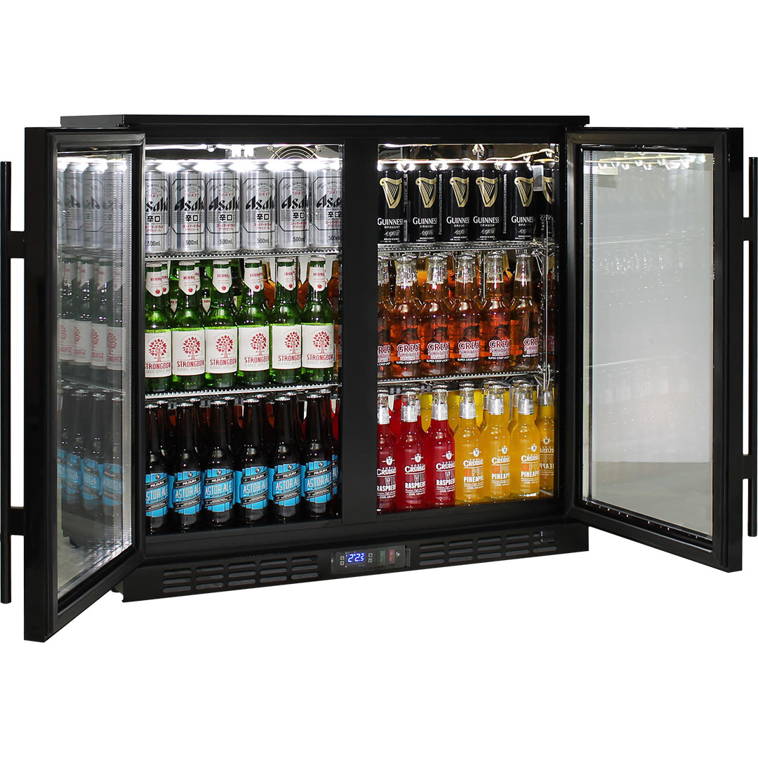 Rhino 2 Door Commercial Glass Door Bar Fridge  - Self closing Doors