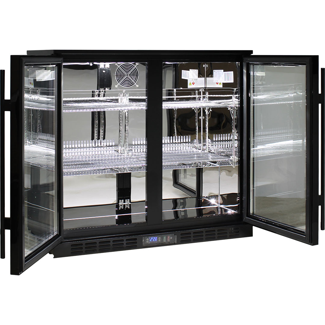 Rhino 2 Door Commercial Glass Door Bar Fridge  - Fully Adjustable Shelving, Led Lighting