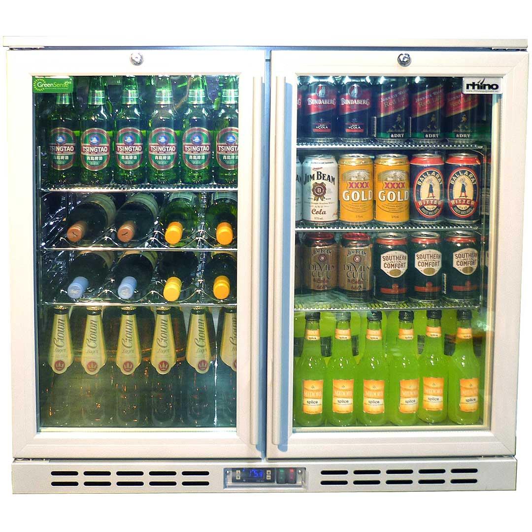 Rhino 2 glass door silver commercial bar fridge with lg compressor rhino 2 door silver glass door bar fridge model sg2h s shelving eventelaan Gallery