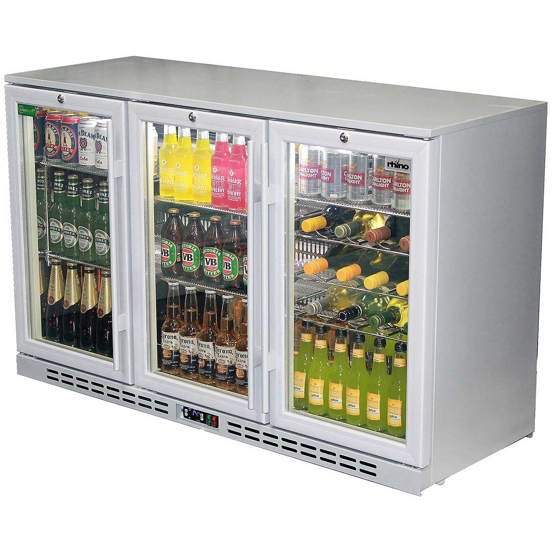 Rhino 3 Door Silver Glass Bar Fridge Model Sg3h S
