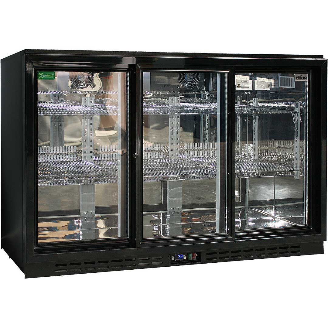 Commercial 3 Sliding Doors Alfresco Glass Door Fridge With LG