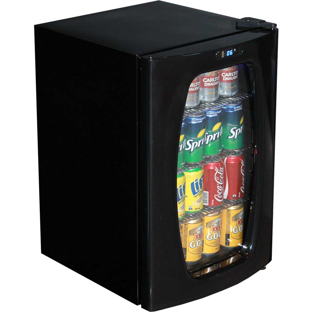 stylish curved glass door compact bar fridge 68 litre