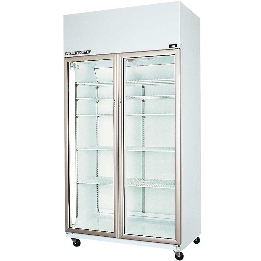 Skope Commercial Glass Door Bar Fridge Model TME1000 wheels