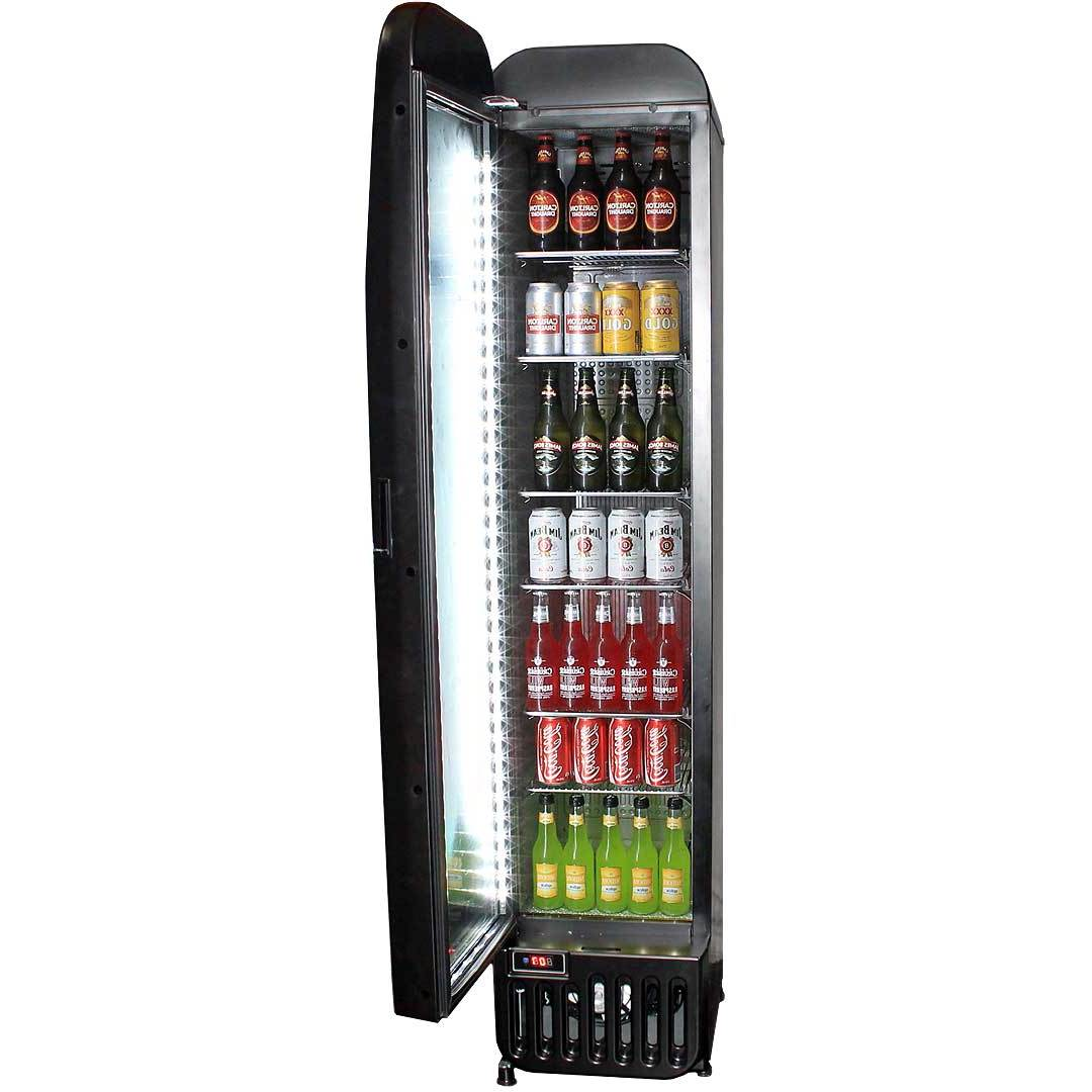 Skinny Tall Bar Fridge With Glass Door Model BR-125 Open