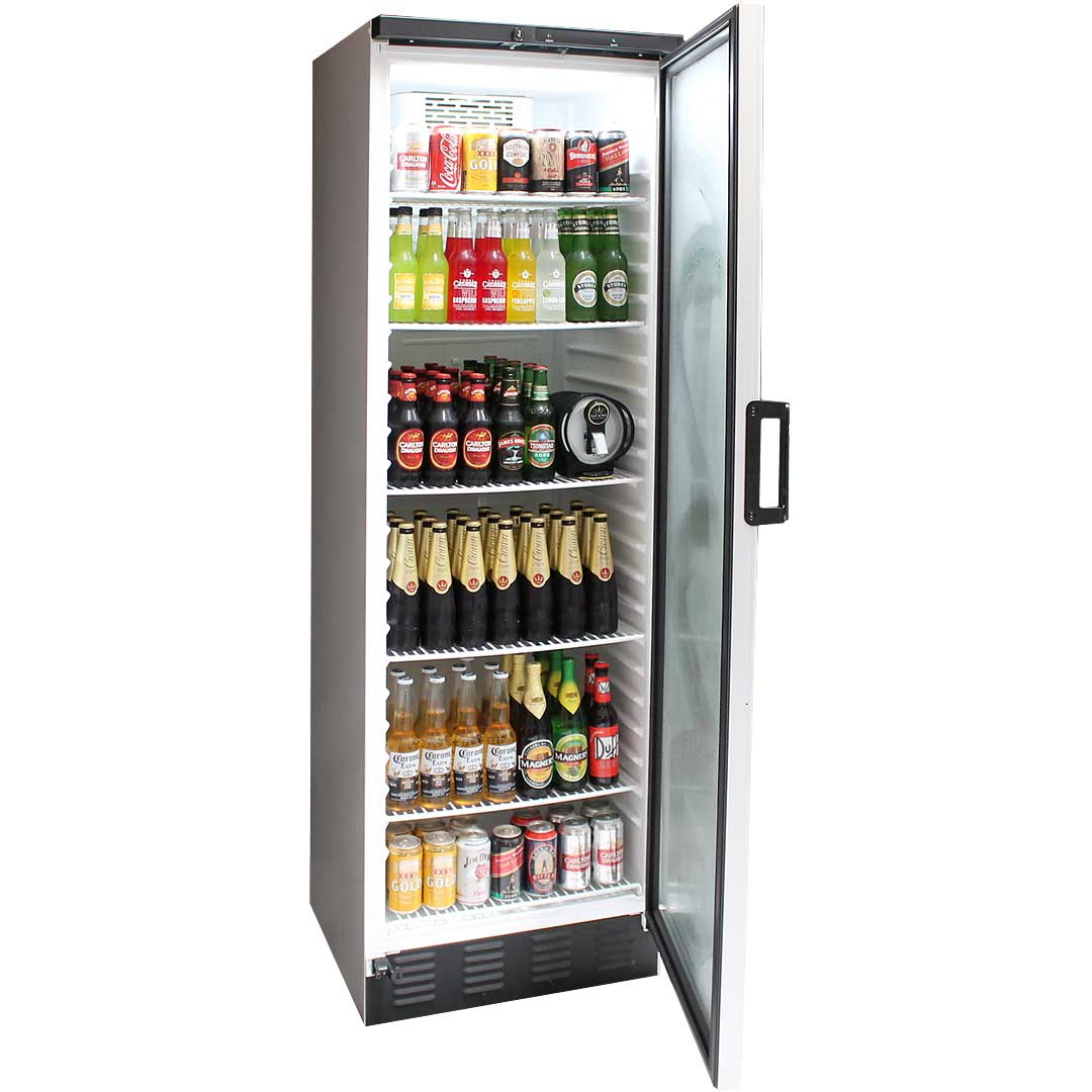 Vestfrost Commercial Bar Fridge With Glass Door and Lock 381Litre Model FKG-371 open