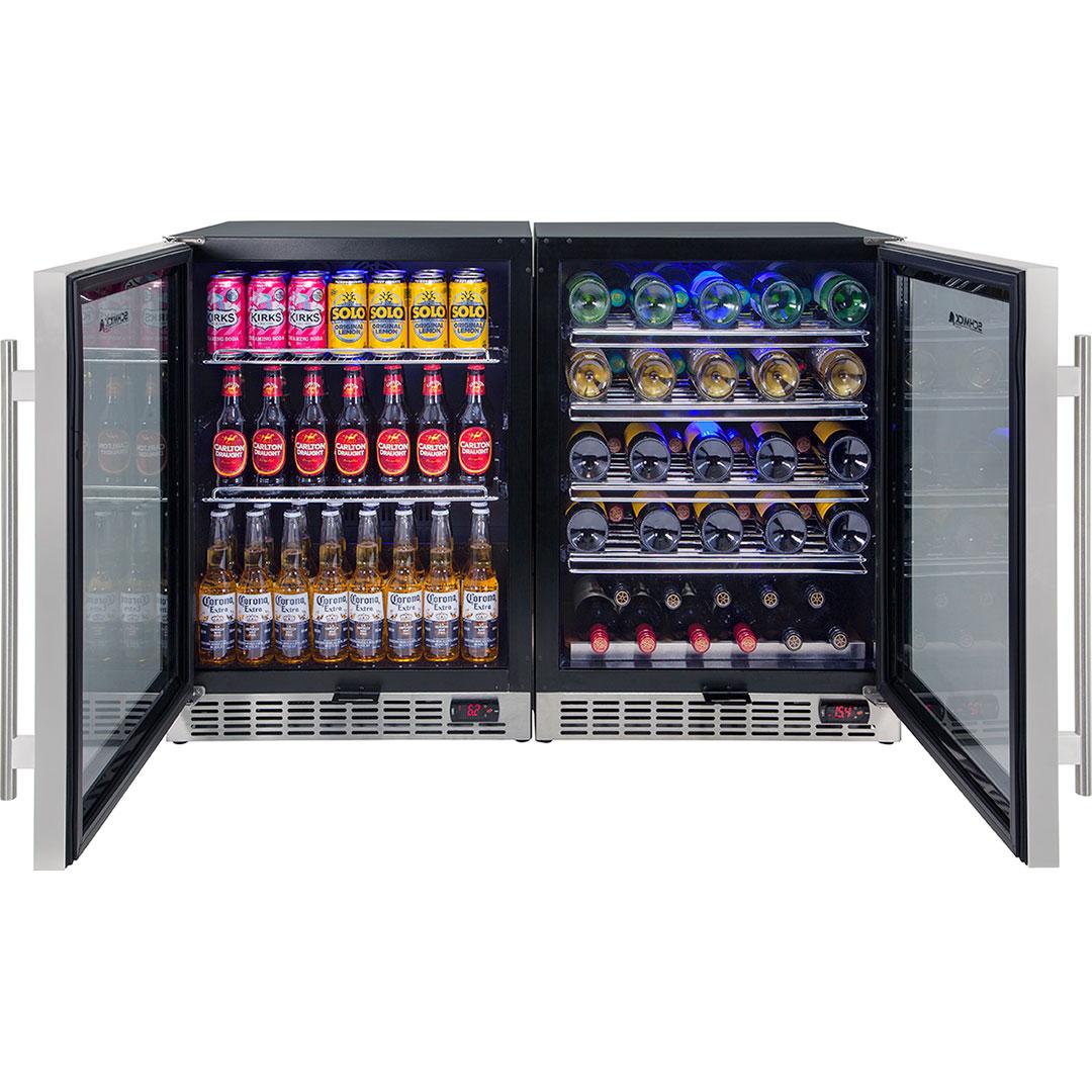 Schmick Beer And Wine Matching Indoor Quiet Running Fridge Combination Model YC150-Combo Open