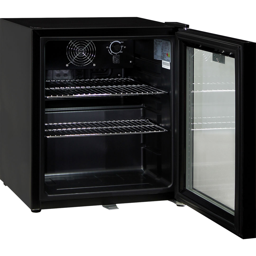 Glass Door Black Bar Fridge - Reversible Door