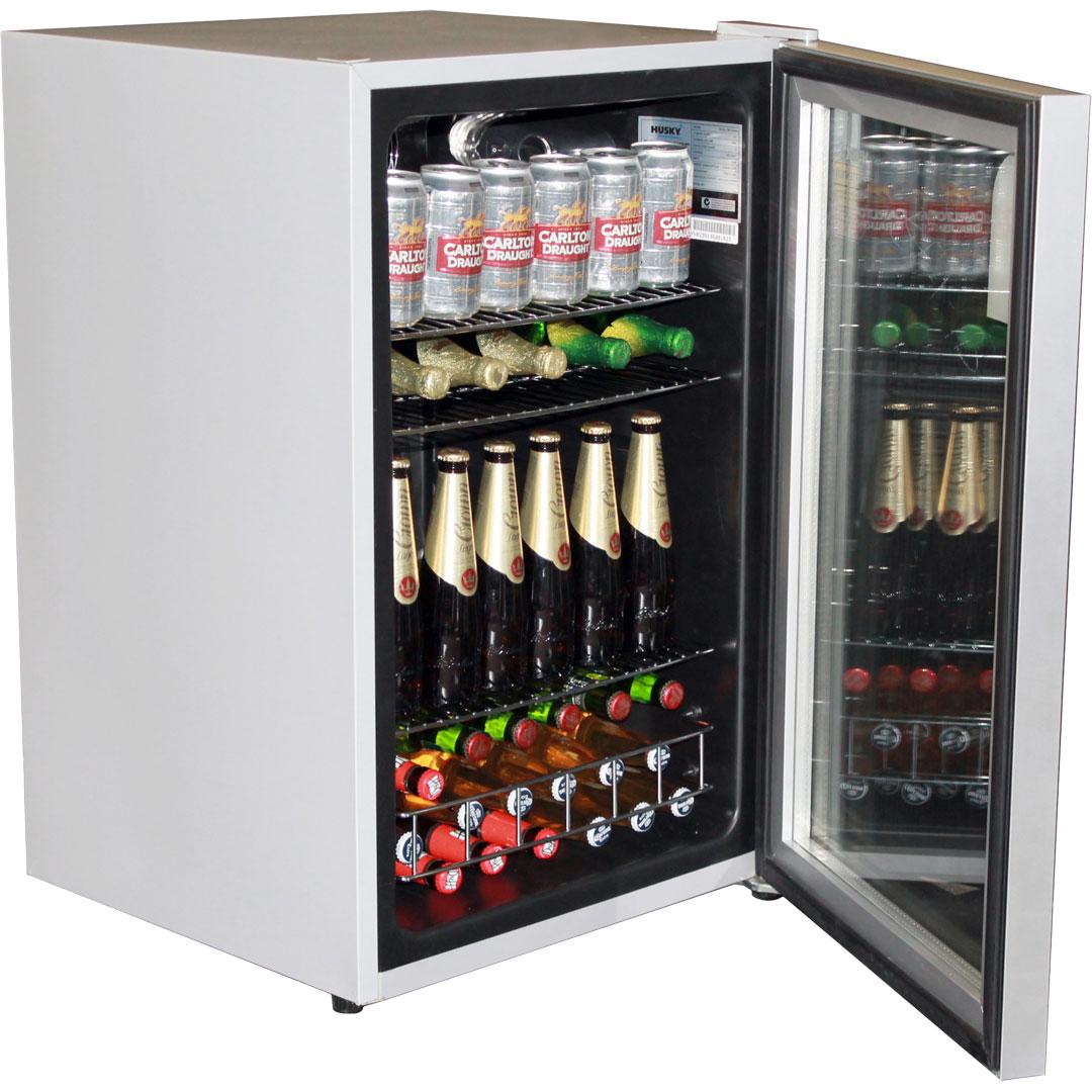 Husky CN130-Silver Glass Door Bar Fridge