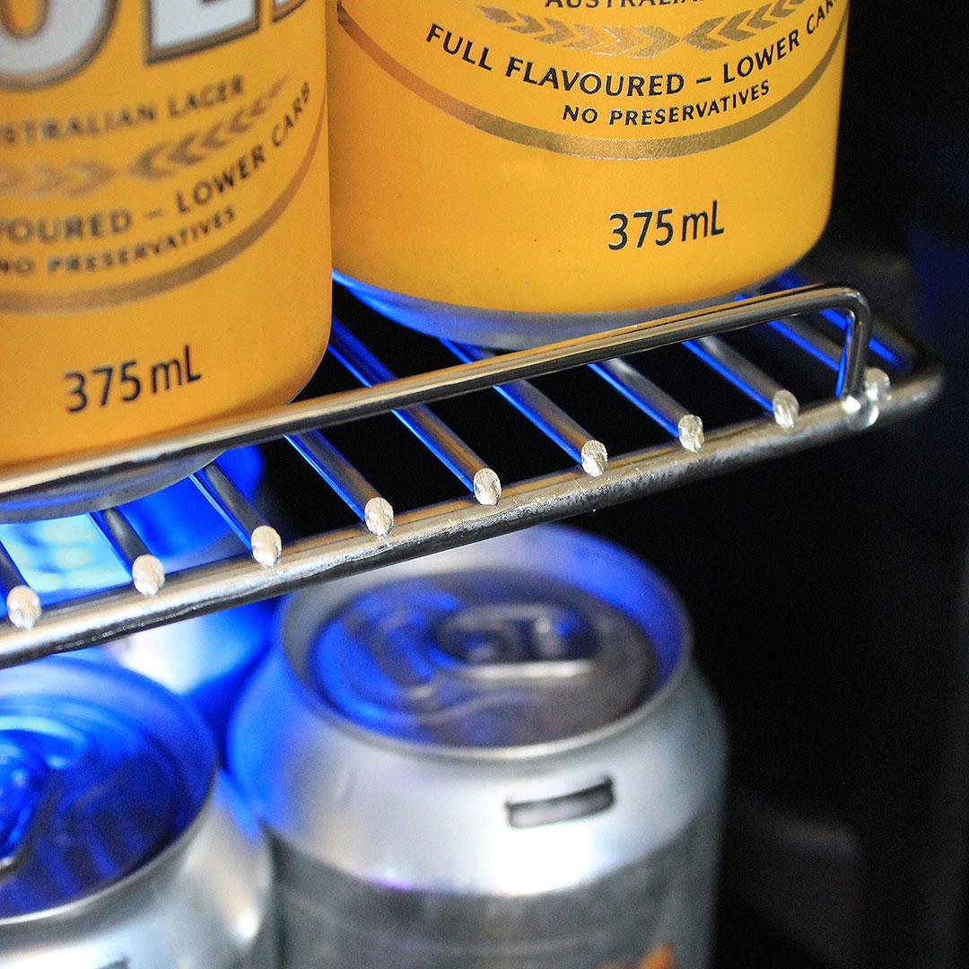 Glass Door Under Bench Bar Fridge Strong Chromed Slide Out Shelving