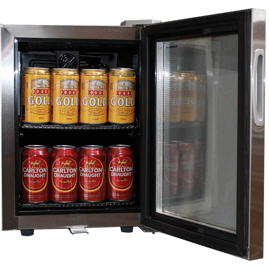 glass door mini all stainless bar fridge open - Mini Fridge Glass Door