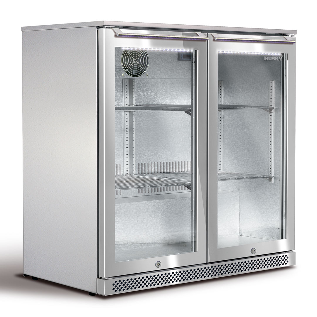 Husky all Stainless Outdoor Bar Fridge With Heated Glass