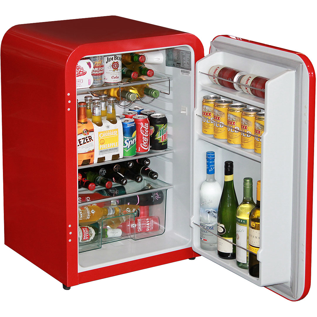 Red Husky Retro Fridge 110Litre Open
