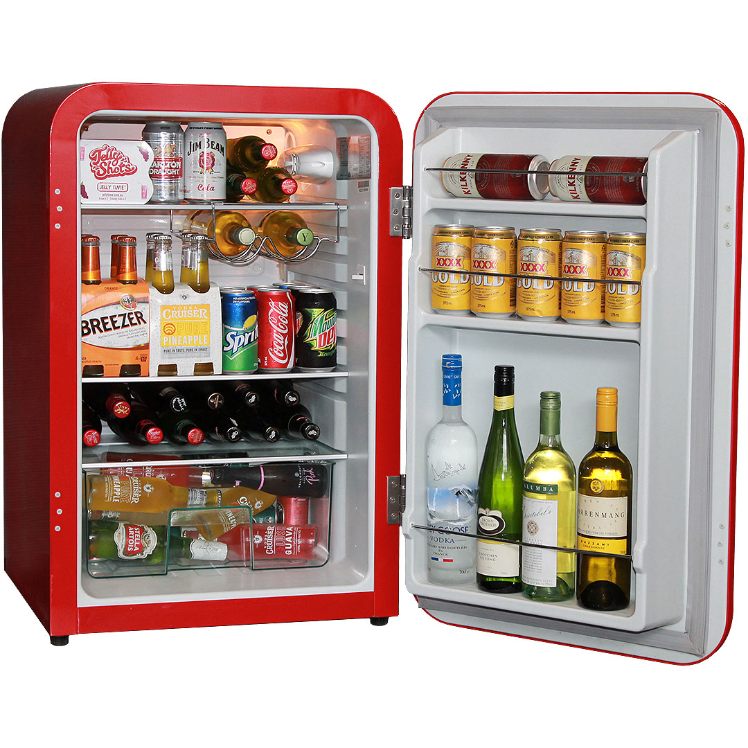 Red Husky Retro Fridge 110Litre Open 2