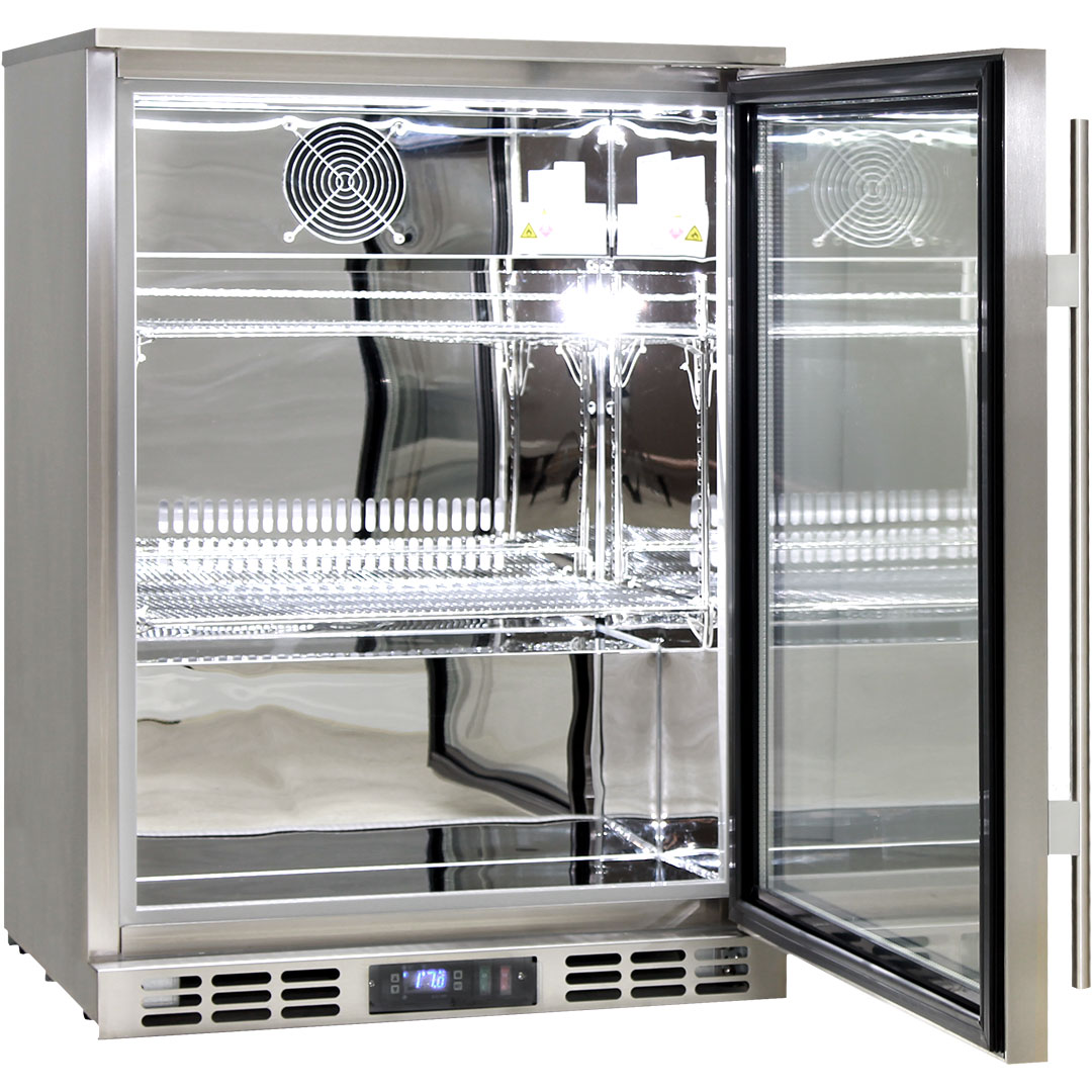 Rhino 1 Door Heated Glass Door Bar Fridge - Self Closing Door, Adjustable Shelves