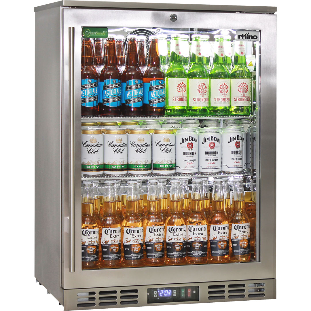 Rhino 1 Door Heated Glass Door Bar Fridge - Brand Parts - Heated Doors To Stop Condensation