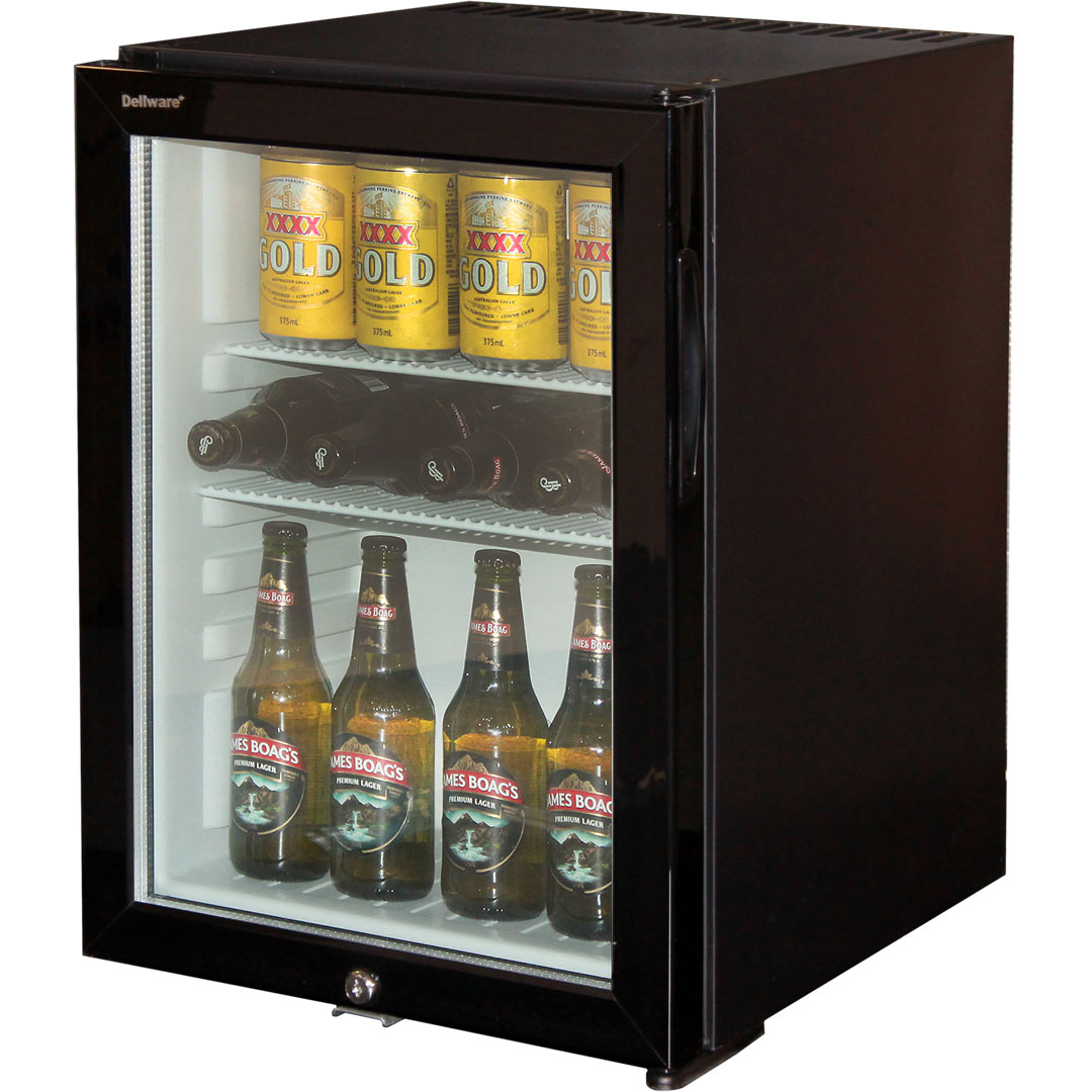 dellware silent triple glazed glass door bar fridge model dw40t open - Mini Fridge Glass Door