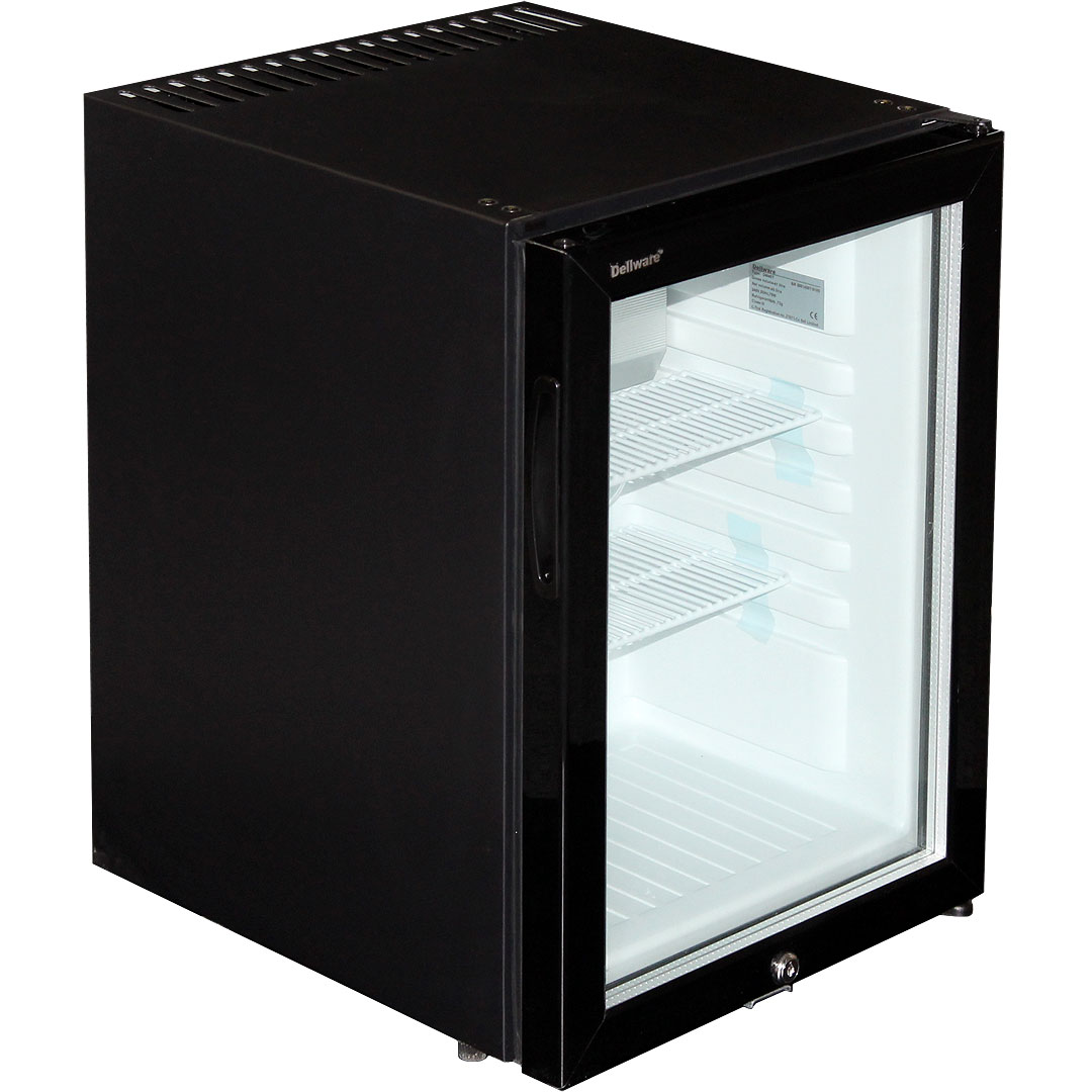 Dellware Silent Triple Glazed Glass Door Bar Fridge Model DW40T angle