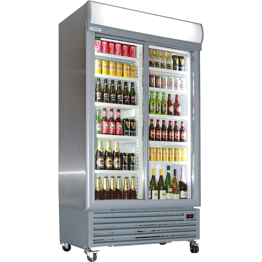Commercial Tropical Rated Upright Glass 2 Sliding Door Bar Fridge