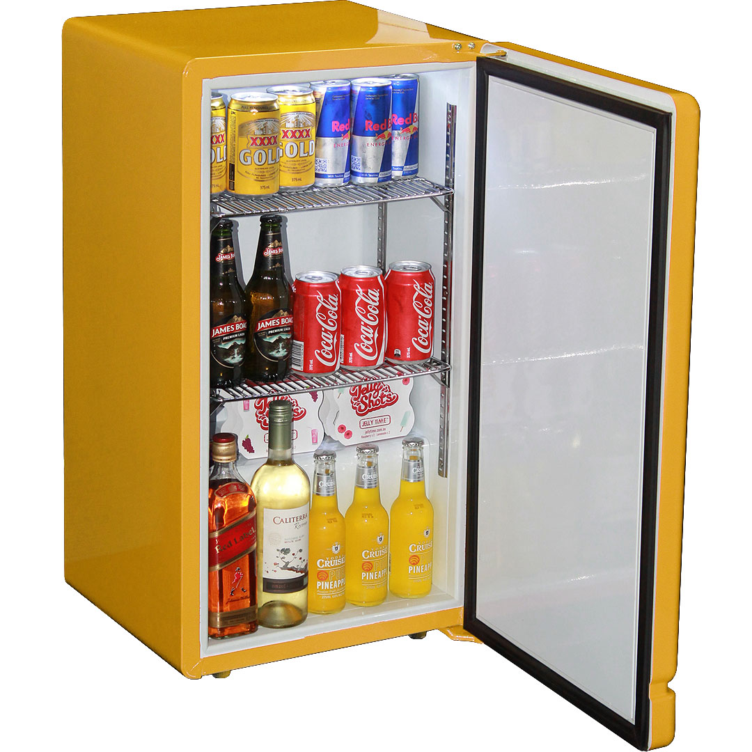 Retro Yellow Bar Refrigerator Nostalgic Look With Col