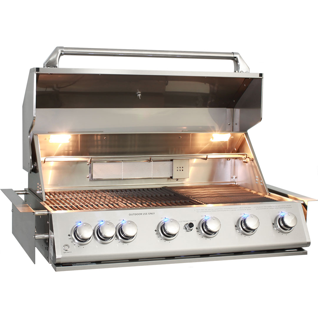 Marine Grade BBQ 316 Stainless Steel 6 Burner Blue LED And Cooking Lights