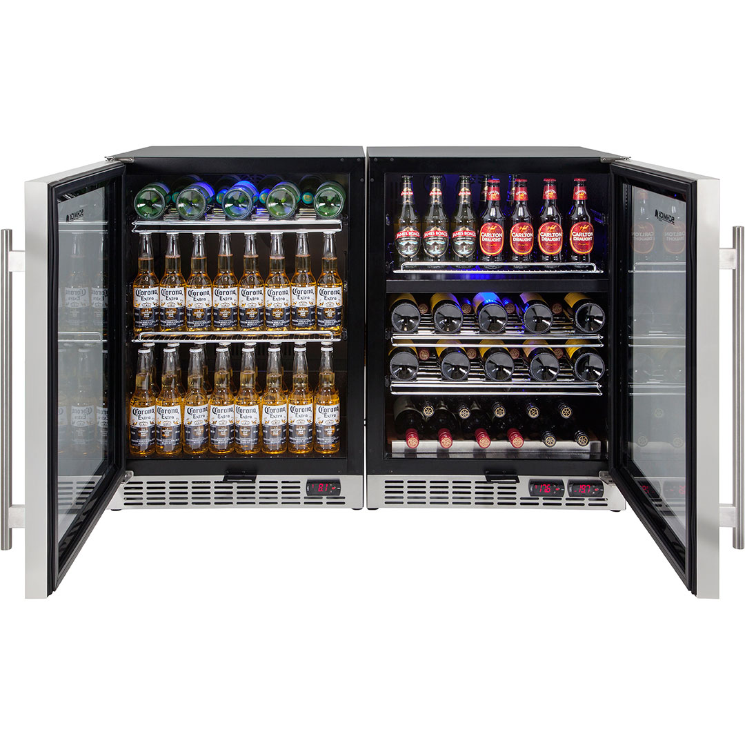 Under Bench Beer And Wine Matching Bar Fridge Shelving Can Interchange Between Wine and Beer