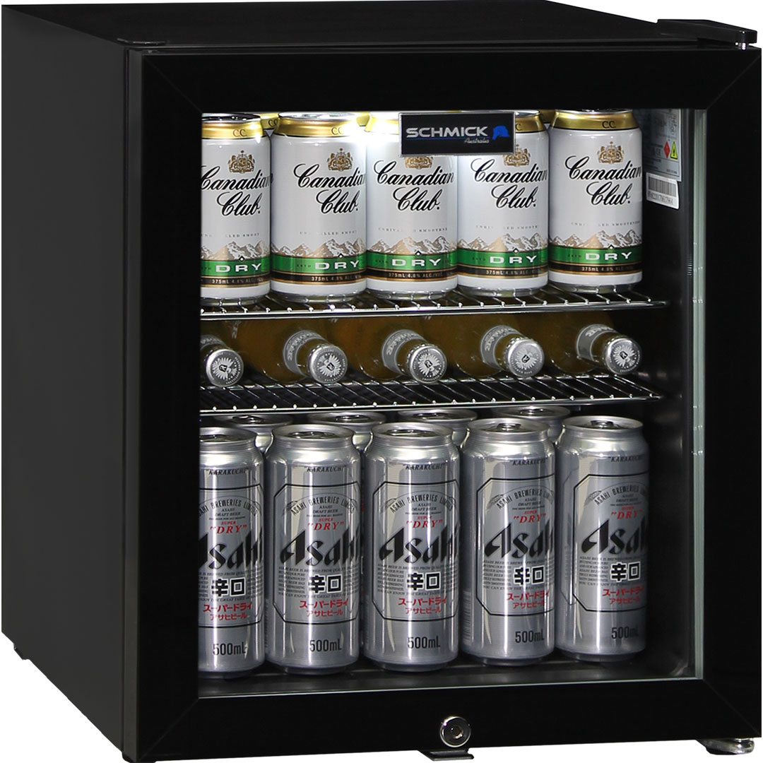 Glass Door Black Bar Fridge - Can fit plenty of product