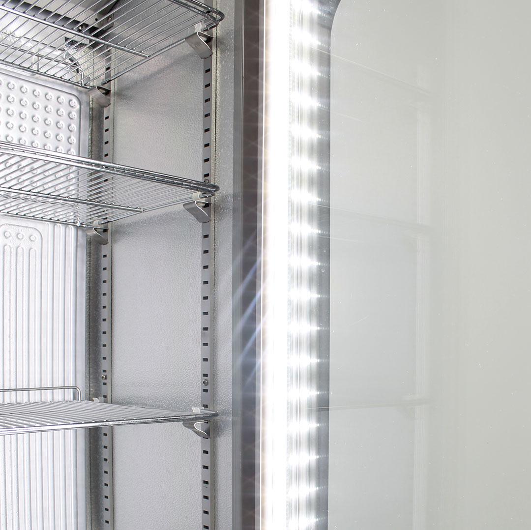 Skinny Tall Bar Fridge - Strong Shelving, Led Lighting
