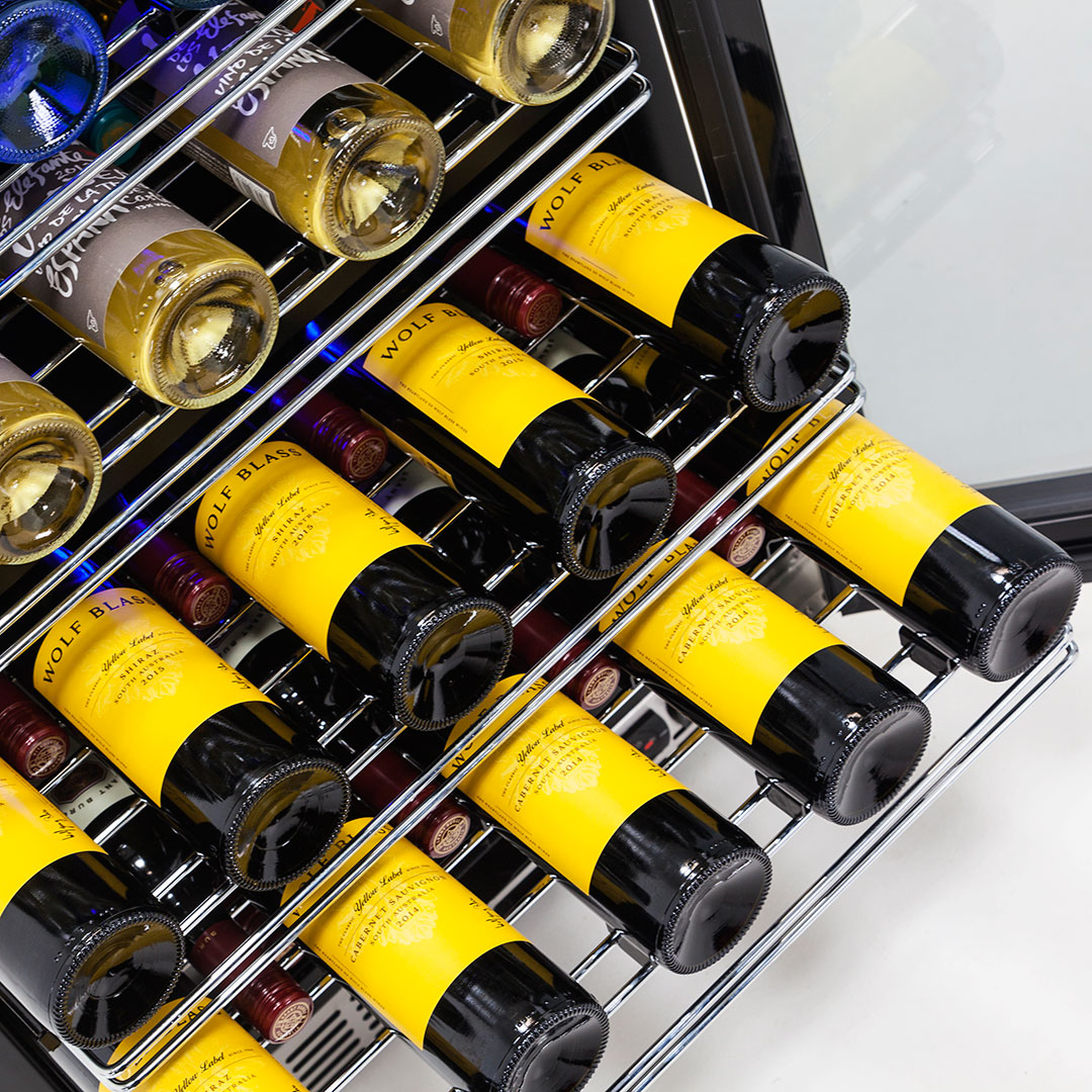 Dual Zone Wine Refrigerator Telescopic Shelving2