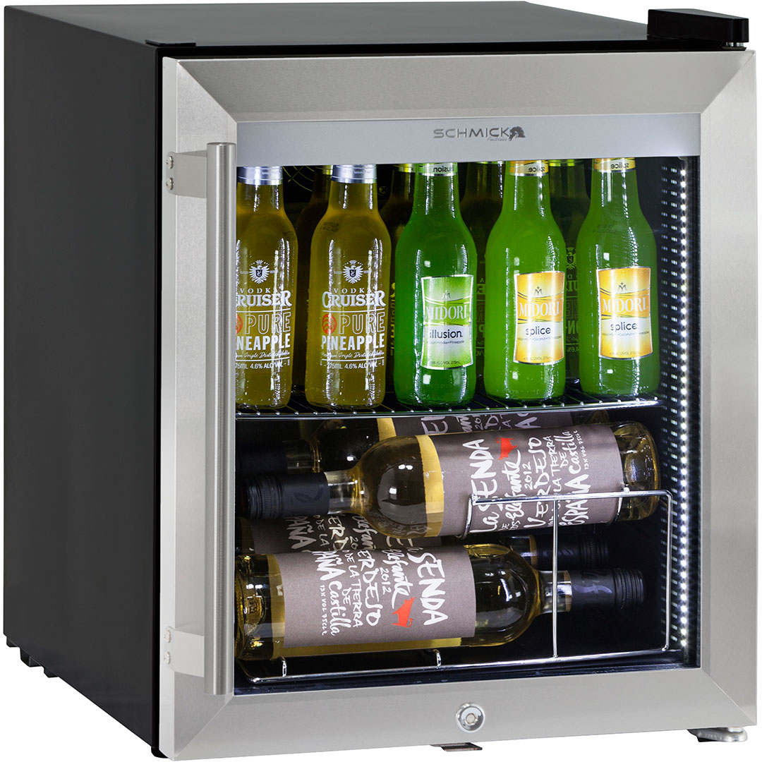 glass door mini bar fridge tropical rated 50 litre triple glazed wine shelf available - Glass Front Mini Fridge